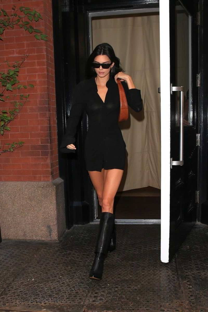 Kendall Jenner in a See-Through Blouse While Leaving The